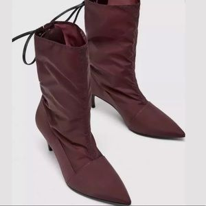 ZARA HIGH HEEL ANKLE BOOTS LACE-UP  7.5 Burgundy